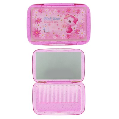 Pink bear Comb & Mirror Set