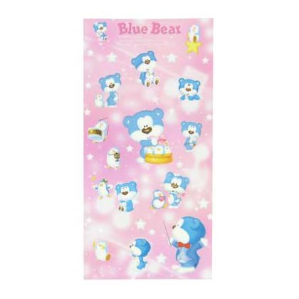 Morning Glory Blue Bear King Sticker - Red