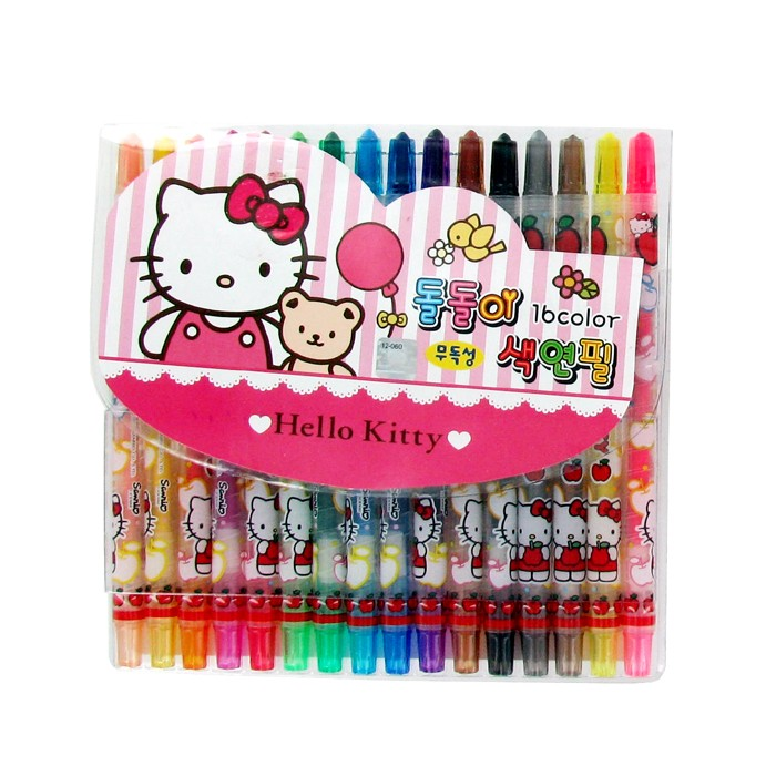 Hello Kitty 16 Color Non-toxic Spinning Crayons - Pink