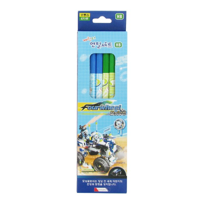 Character Pencil Set - Blue/HB/Pack of 4