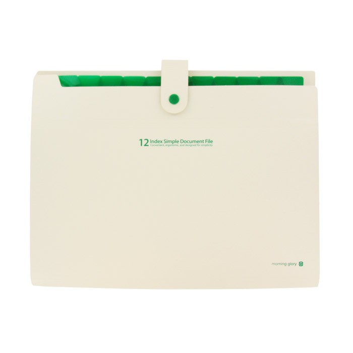 12 Index Simple Document File - Ivory/Green