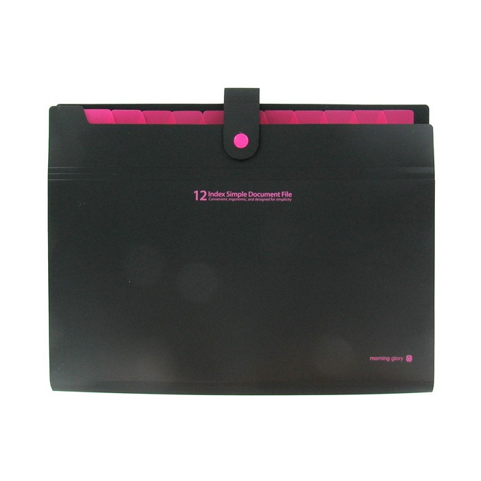 12 Index Simple Document File - Black/Hot Pink