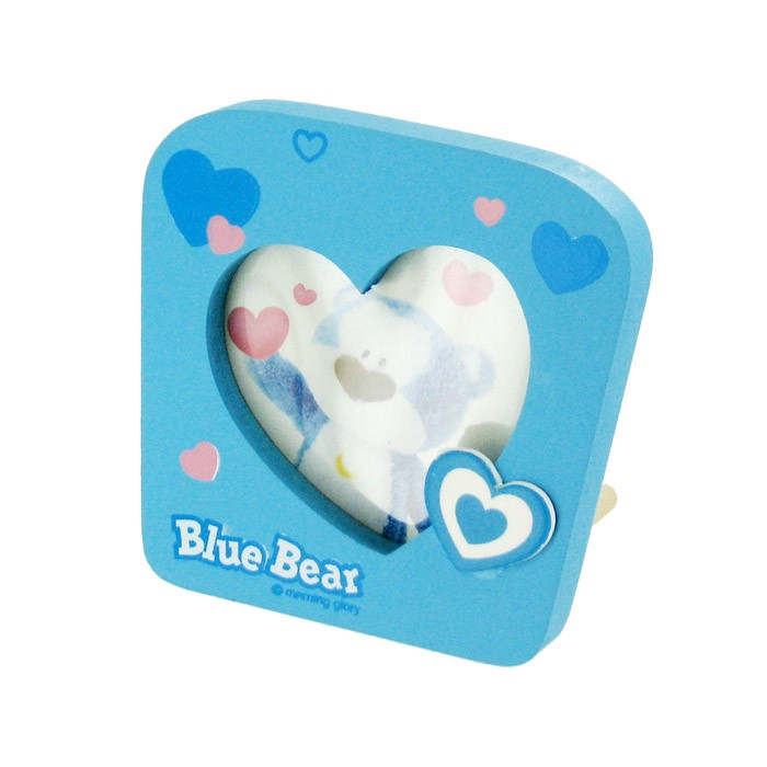 Blue Bear Heart Shape Photo Frame