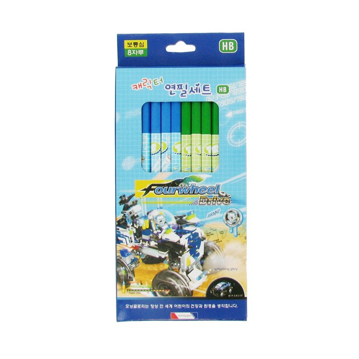 Character Pencil Set - Blue/HB/Pack of 8