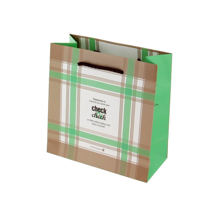 Morning Glory Check Shopping Gift Bag - Green/Light Brown Check (Small)