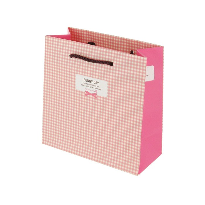 Morning Glory Check Shopping Gift Bag - Soft Pink Thin Check (Small)
