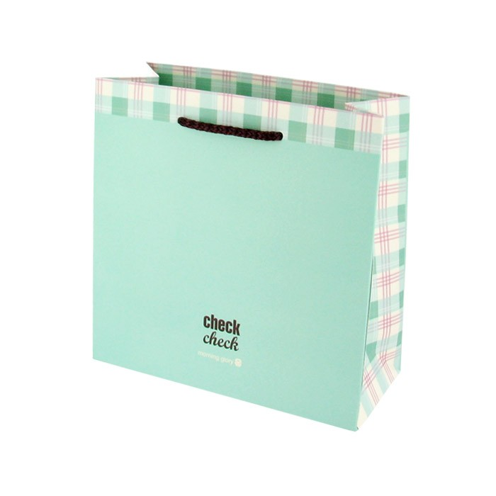 Morning Glory Check Shopping Gift Bag - Mint (Small)