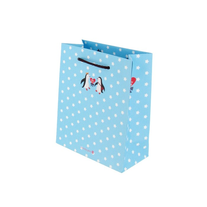 Mini Coated Paper Gift Bag - White star/ Sky blue