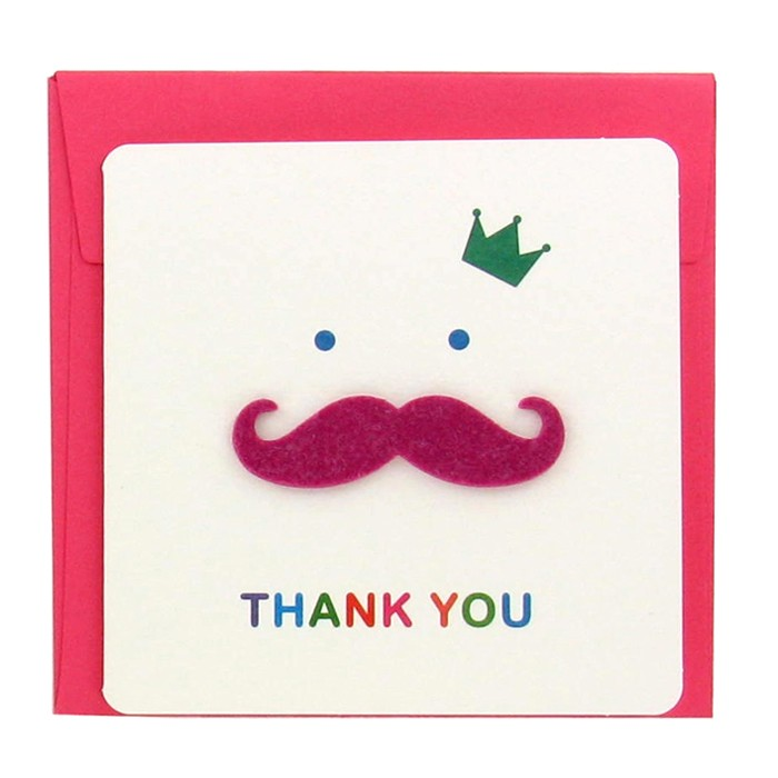 Bonjour Mustache Greeting Card - Pink Thank You