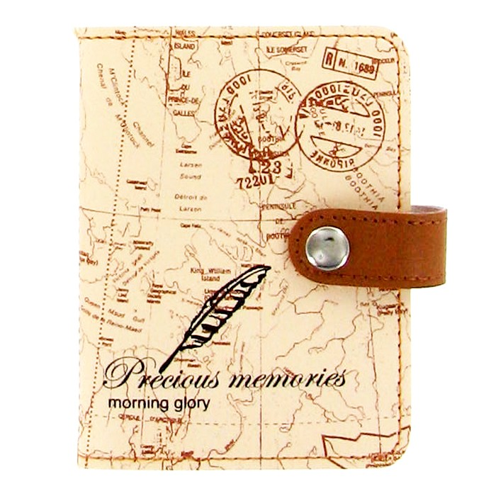 Card Case - Beige World Map