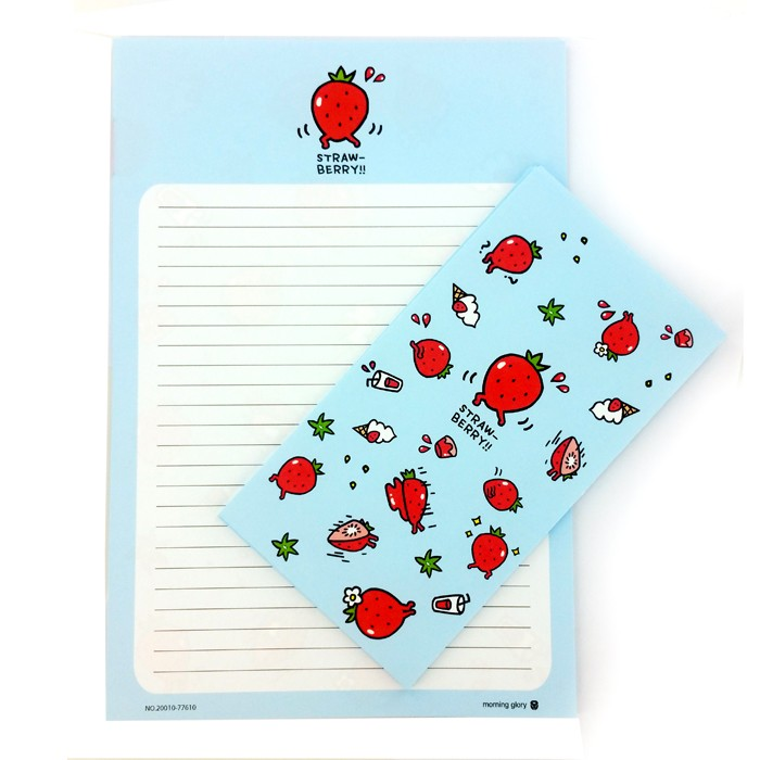 Morning Glory Fruit Letter Set - Sky Blue Strawberry