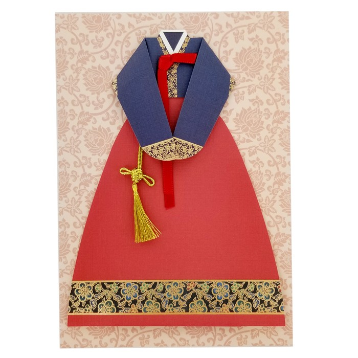 Traditional Korean Costume Card - Navy Blue and Red Women Costume