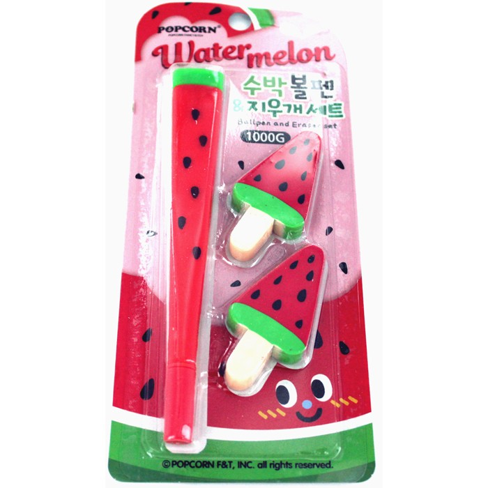 Watermelon Pens and Eraser Set