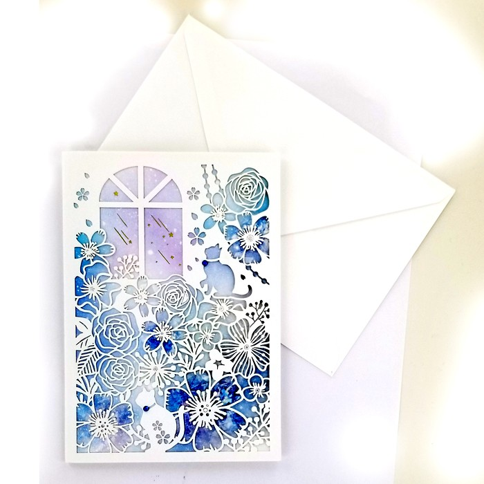 Paper Cut Design Greeting Card - Blue Window and Flowers