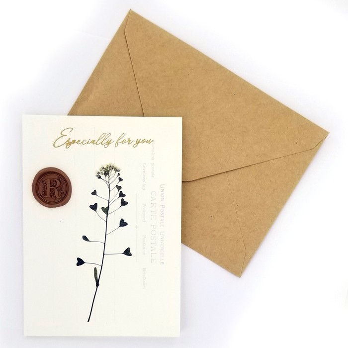 Flower Greeting Cards - Heart Leaves
