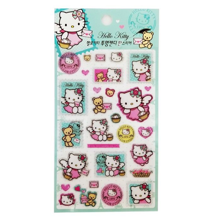 Hello Kitty Clear Candy Stickers - Mint Green