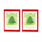 Blue Bear Greeting Card - 2 Packs / Blue & Pink Bear with a Tree
