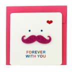Bonjour Mustache Greeting Card - Pink Forever with You