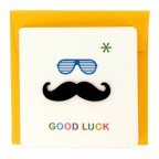Bonjour Mustache Greeting Card - Yellow Good Luck