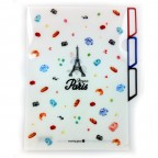 Bonjour Paris Three-Section Folder - White