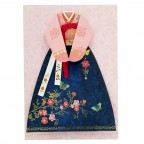 Traditional Korean Costume Card - Soft Pink and Navy Blue Women Costume