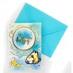 Moongs Friends 3D Greeting Cards - You Make Me Happy Cat Moongs and Giraffe